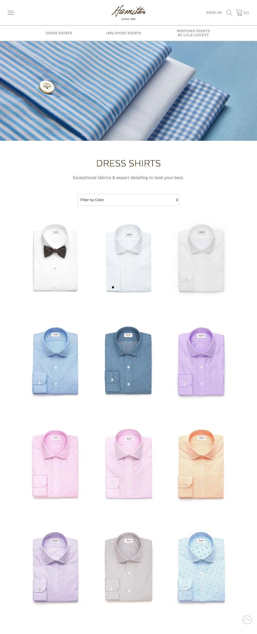 Website Design for Hamilton Shirts
